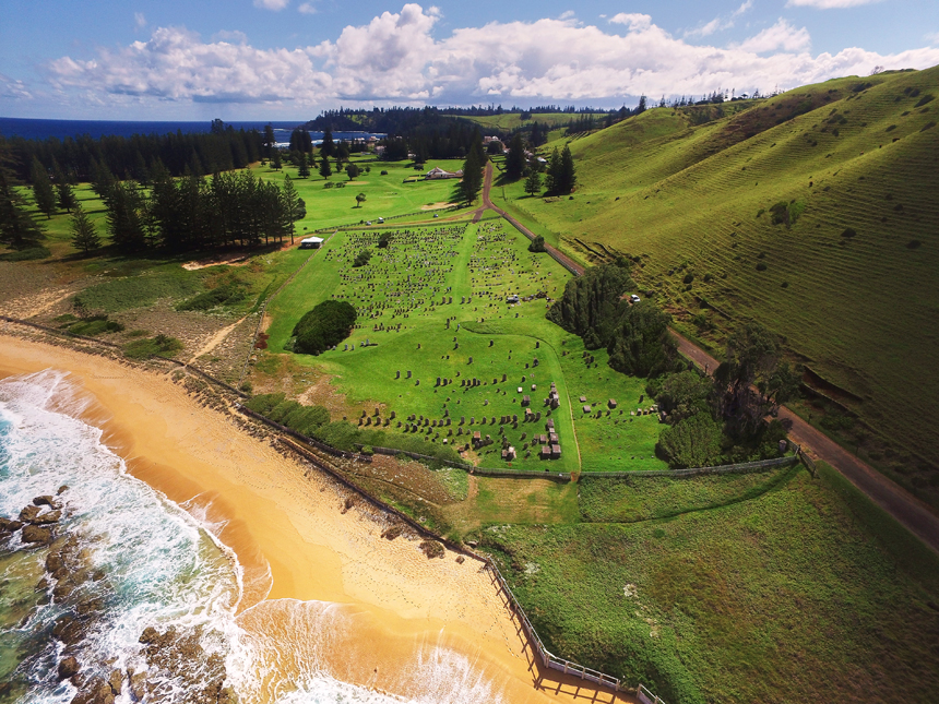 Aerial photograph of Norfolk Island cemetery, overlooking Quality Row. Photograph: Rob Nisbet