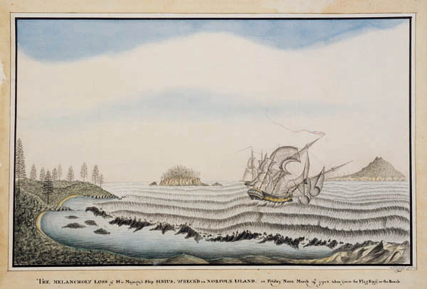 The Melancholy loss of His Majesty's Ship Sirius, wrecked on Norfolk Island—George Raper, 1790. Source: The National Library of Australia (Bib ID 361598)